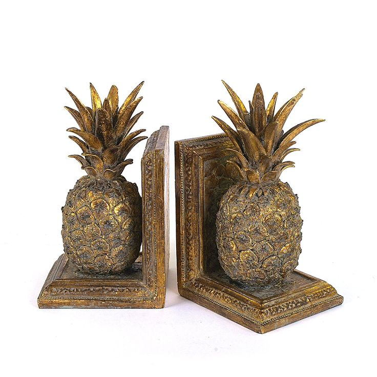 Creative Co-Op Resin Pineapple Bookend Set, Gold *** Review more details here (This is an amazon affiliate link. I may earn commission from it)