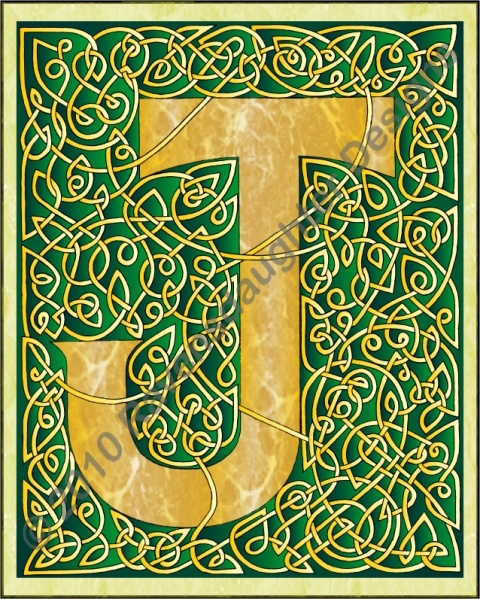 Green & gold Celtic knotted letter J. | Illuminated ...