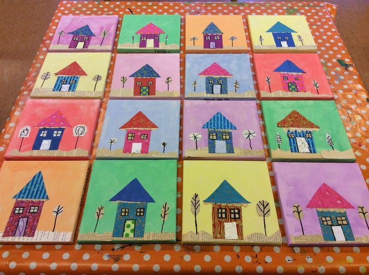 Collage huse på små lærreder. Bidt af billedkunst!: 1. kl