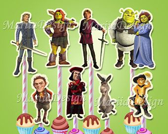 Shrek Centerpiece, Shrek Centerpieces, Shrek Characters, Shrek Cupcake toppers, Shrek Instant download, Shrek Party Supplies - ONLY FILE