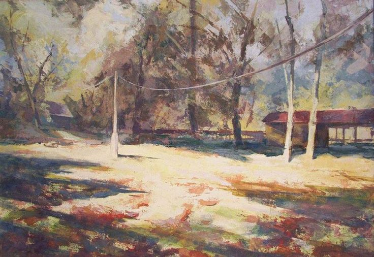 Our camp in Gemenc. Tempera, canvas.