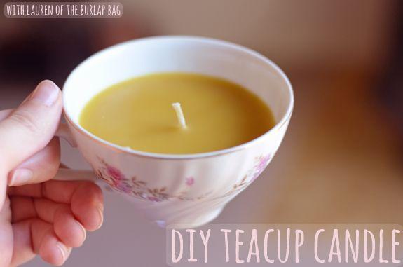zelf kaarsen maken met theekopjes