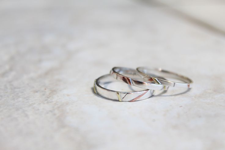 Multi-leveled wire inlay rings (2012)  set of three, stackable 'thin rings'  (Stirling Silver, Copper, Brass)