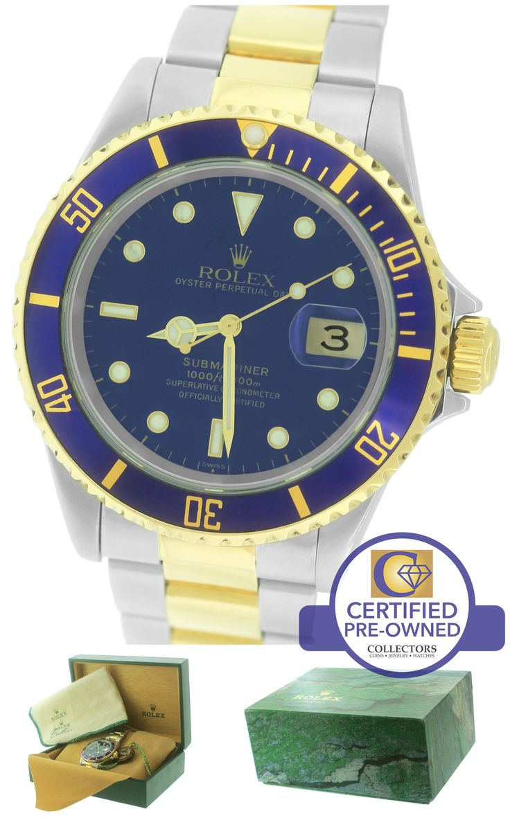 2000 Rolex Submariner Date 16613 Two-Tone Gold Stainless Blue 40mm Dive Watch