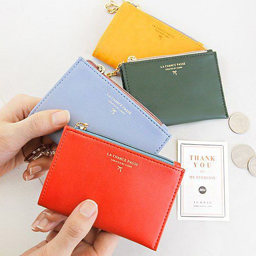 Details about ICONIC Simple Card Case Mini Zip Around Car Key Ring Holder Coin Wallet Purse