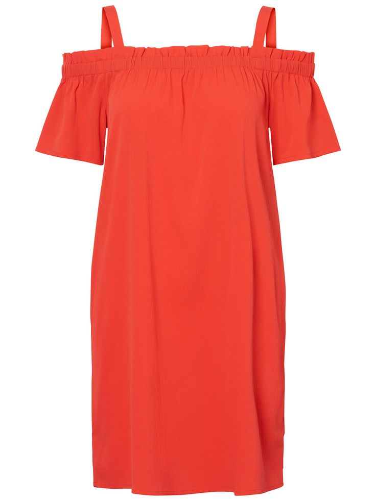 Kurzärmeliges Kleid von Noisy May | Off-Shoulder mit Schulterträgern | Reguläre Passform | Länge: 80 cm in Größe S | Das Model ist 180 cm groß und trägt Größe S