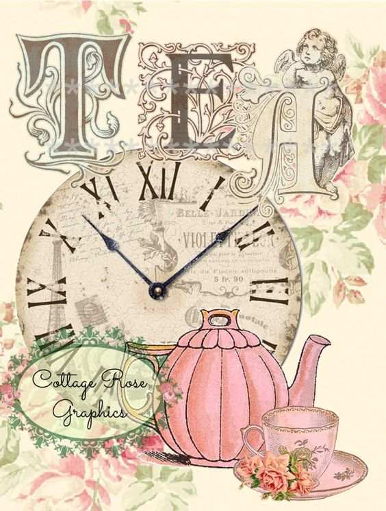 Victorian English TEA time Large digital by CottageRoseGraphics, $3.95: