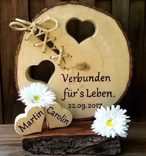 Hochzeit Verbunden fürs Leben Baumscheibe 2 Herzen Namen Datum personalisierbar Gastgeschenk Liebe Geschenk Holz