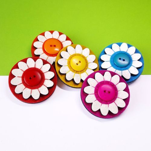 These fabulous floral felt brooches are available in a whole rainbow of different colours from our website!
