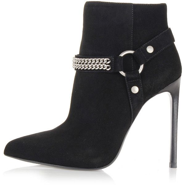 Saint Laurent Heeled ankle boots with chain detail ($410) ❤ liked on Polyvore featuring shoes, boots, ankle booties, black, short boots, black stilettos, black stiletto boots, black ankle booties and short black boots