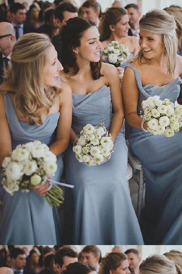 Customized Soft Bridesmaid Dresses Chiffon, Bridesmaid Dresses Blue