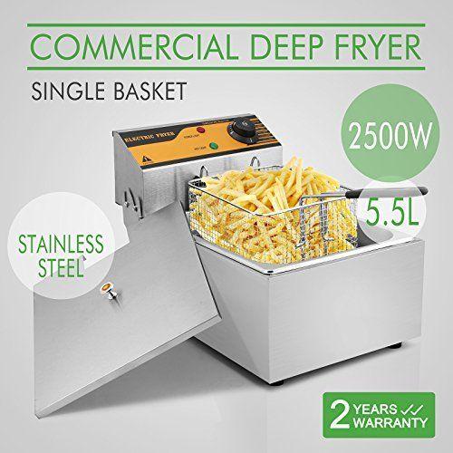 OrangeA Deep Fryer Commercial Deep Fryer Electric Countertop 5.5L Single Tank Restaurant Grade Stainless Steel French Fry (5.5L Single Tank)