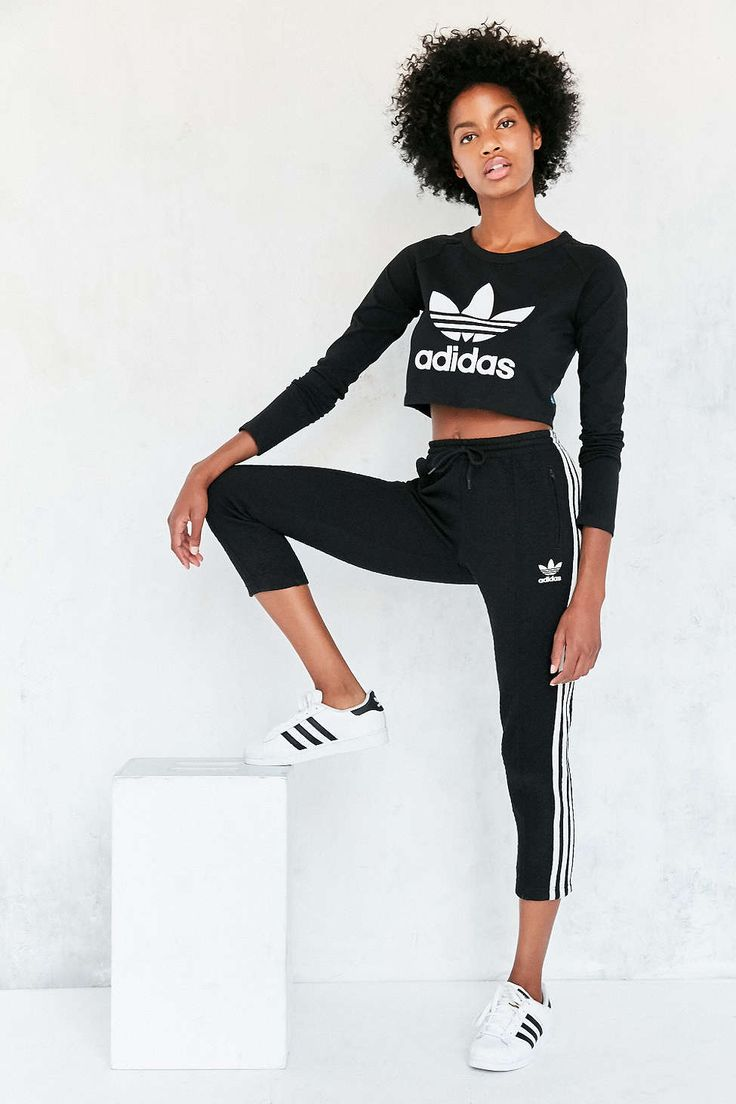 adidas Originals Long-Sleeve Cropped Trefoil Tee - Urban Outfitters