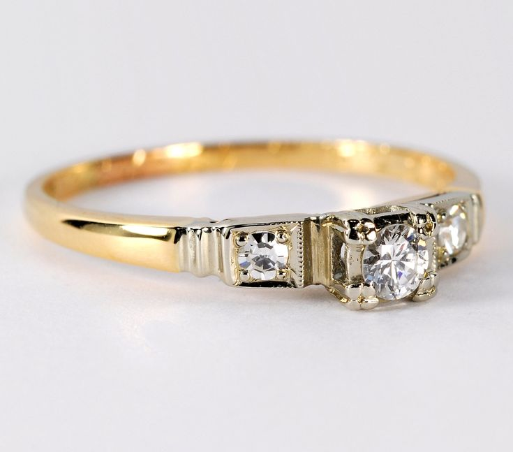 Yellow Gold Antique Engagement Rings | Vintage 3 Stone Diamond Engagement Ring 14kt Yellow Gold with High ...