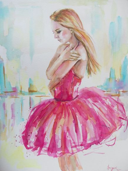 Ballerina 19- Original ballerina watercolor painting