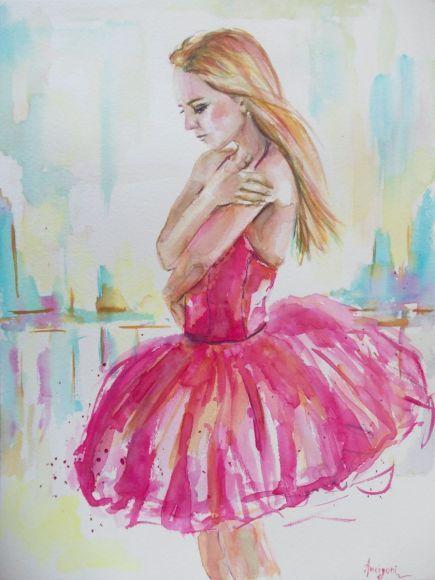 Ballerina 19- Original ballerina watercolor painting