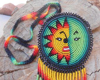 Moon Sun Design Gorgeous Pouch Native Huichol Necklace