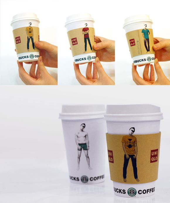 AD Sleeve.  Co-promotion between Starbucks and UNIQLO