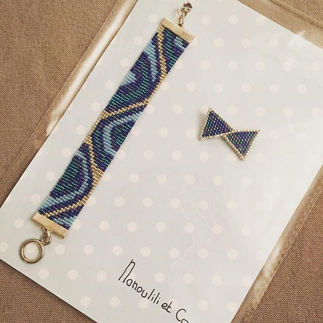 Un nouveau petit paquet ! Le voilà le petit noeud de @rose_moustache !! Et un bracelet tissé cette été mais pas encore livré à sa destinataire 😋 #jenfiledesperlesetjassume #perlezmoidamour #perlesaddict #rosemoustache #plaisirdoffrir #blue #noeud #miyuki