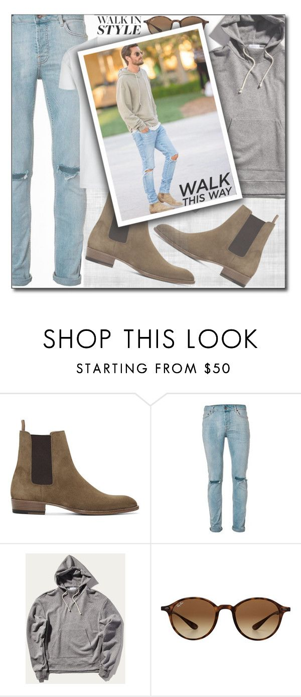 """""""CHELSEA BOOTS"""" by shoaleh-nia ❤ liked on Polyvore featuring Yves Saint Laurent, Topman, Ray-Ban, men's fashion and menswear"""