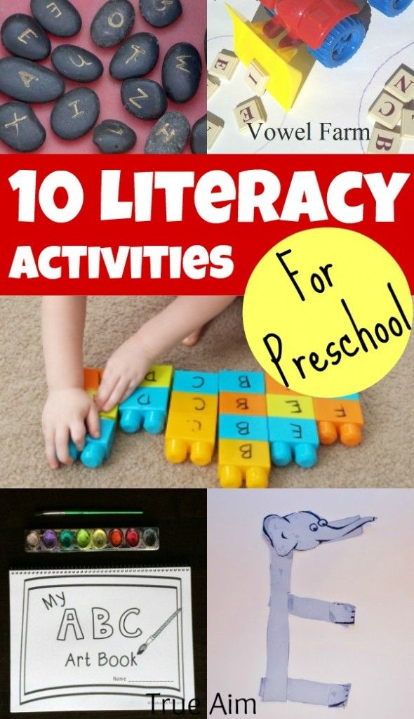 10 Preschool Literacy Activities - Teach preschoolers beginning letter sounds and help them take the first steps to reading. These activities are must see!