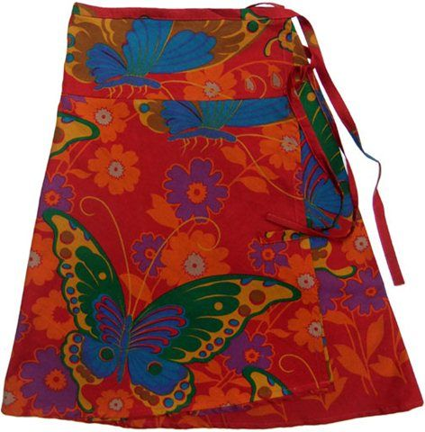 Maroon butterfly print wrap skirt by marketique. #Andable | When you buy, we share -