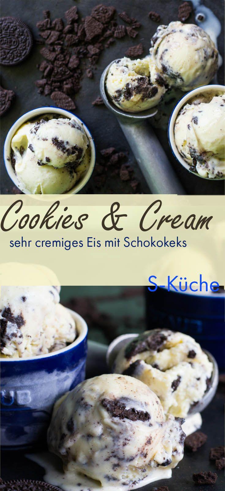 Homemade Cookies and Cream Eis aus cremigem Vanilleeis und einer guten Portion Oreo Keks. Viel besser als fertig Gekauftes.
