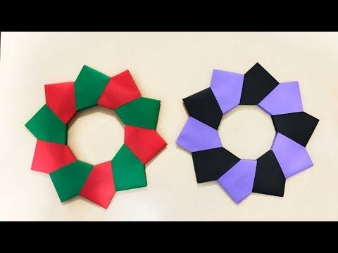折り紙 シンプルリース Origami Simple Wreath(カミキィ kamikey) - YouTube