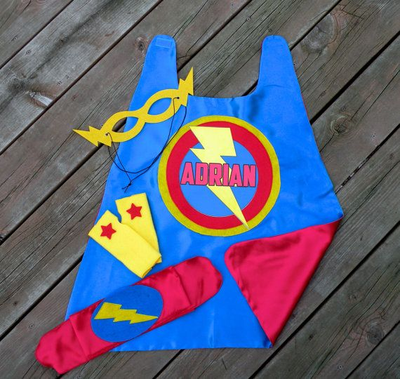 Boys Personalized 4 piece SUPERHERO CAPE SET-Includes personalized cape with child's name, hero belt, mask, and arm bands-Halloween costume