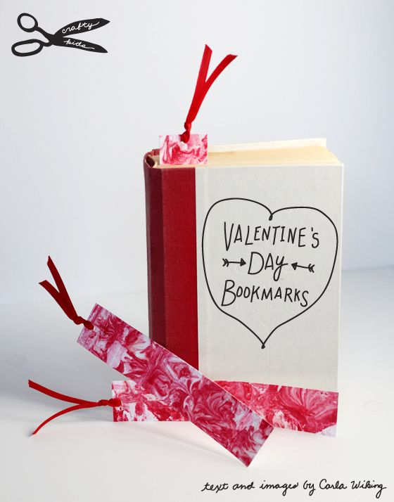 marbled bookmarks - cute and creative class or teacher Valentine's Day cards