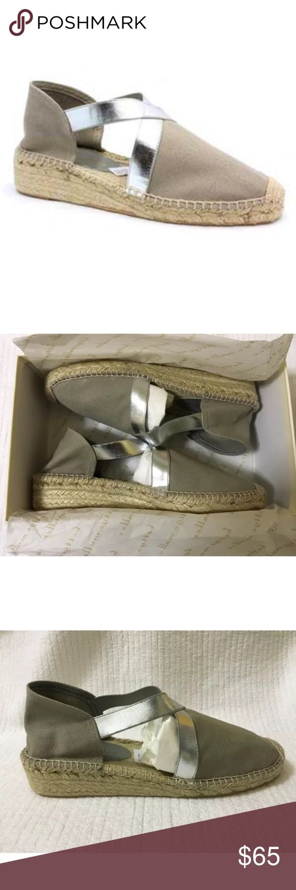 """Bettye Muller Gray Silver espadrille Retail $160  New in box with minor shelf wear.  Shimmery stay-put straps dress up this Bettye Muller espadrille. Try pairing it with your favorite day dresses and breezy boho blouses.  Canvas upper. Reinforced square toe. Open sides. Crisscross stretch metallic straps. Braided jute midsole. 1"""" demi-wedge heel. Rubber outsole provides traction. """"Lasso"""" is made in Spain. Bettye Muller Shoes Espadrilles"""