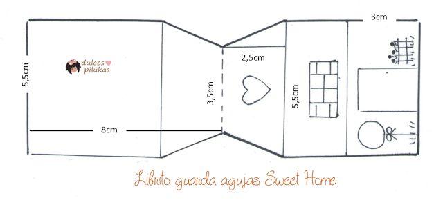 dulces pilukas: Librito guarda agujas Sweet Home. Tutorial