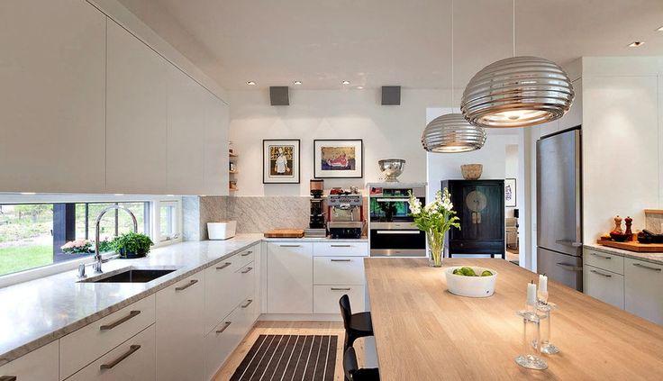 Modern eat in kitchen with window backsplash