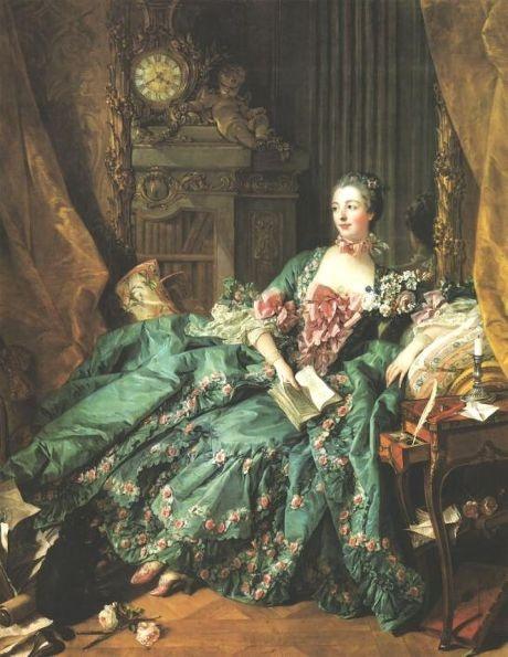 여성성의 시대 로코코에 접어들면서 여성의 화려함은 절정에 달한다. 초기에는 붉은 색조의 화장이 유행을 하였다. 그림의 인물은 마담 퐁파두르인데 많은 사람들이 그녀의 스타일을 따라했다.  프랑스와 부셰, 마담 퐁파두르 부인의 초상, 뮌헨 피나코테카