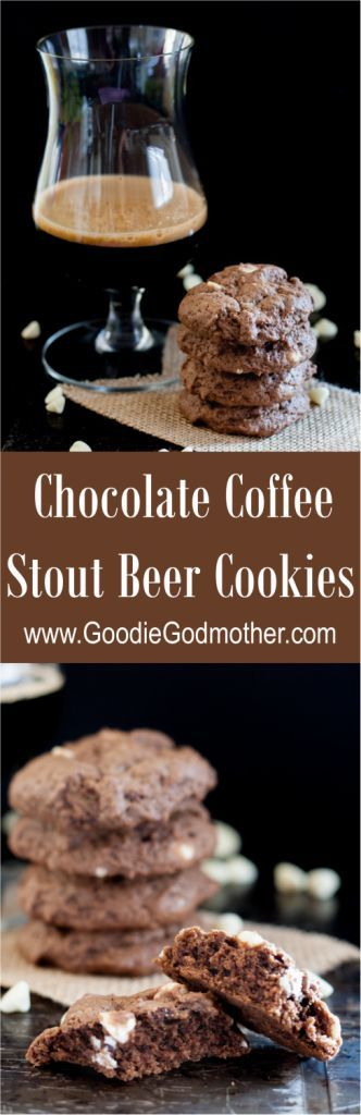 Soft chocolate coffee stout beer cookies are the perfect treat for a beer lover! The beer taste is just right and blends perfectly with the chocolate. * GoodieGodmother.com/