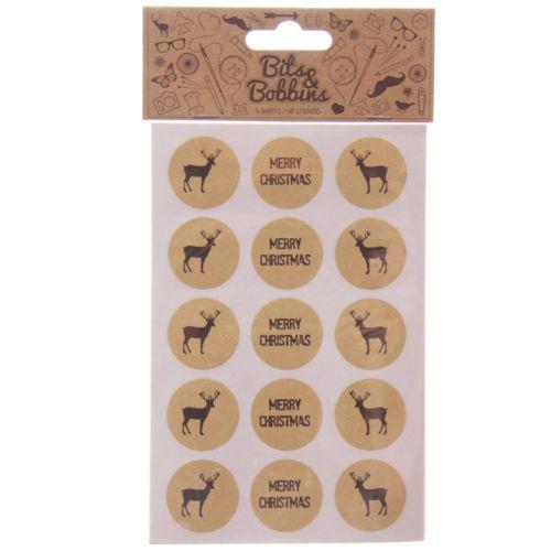 Merry-Christmas-Sticker-60-Stueck-Rentier-und-Schriftzug-rund-Bits-amp-Bobbins