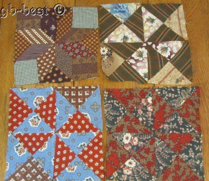 4 Pre Civil War c1830/40s Antique Quilt Blocks Prussian Blue Browns FABRIC STUDY