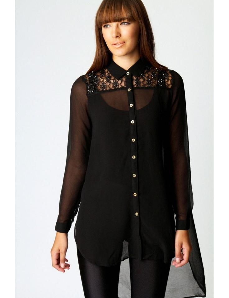 Zega Store - Camasa, de culoarea neagra cu dantela - Femei, Camasi