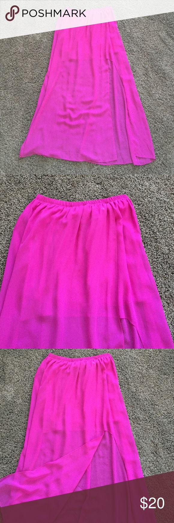 Hot pink chiffon maxi skirt! Hot pink chiffon maxi skirt! Elastic waist band, skirt is lined to above the knee, slit up the side to above the knee! SOO cute and worn twice! Skirts Maxi