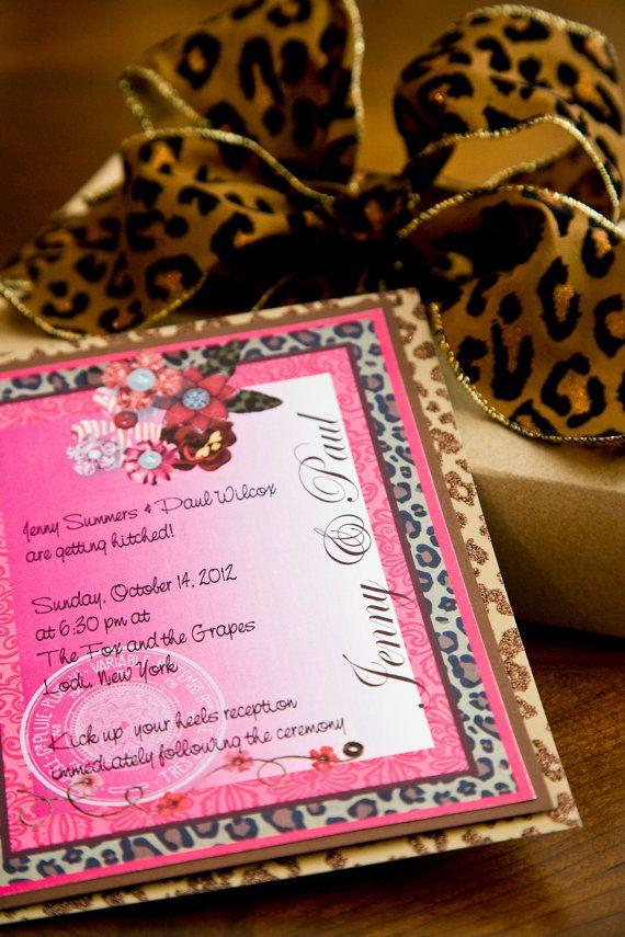 Lipstick Leopard Wedding Invitation Suite 5x7 by AllisStudio, $4.25