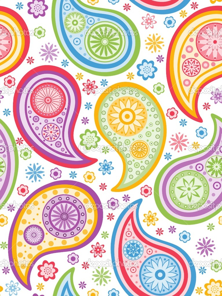 Free paisley designs colorful seamless background with a for Paisley wallpaper