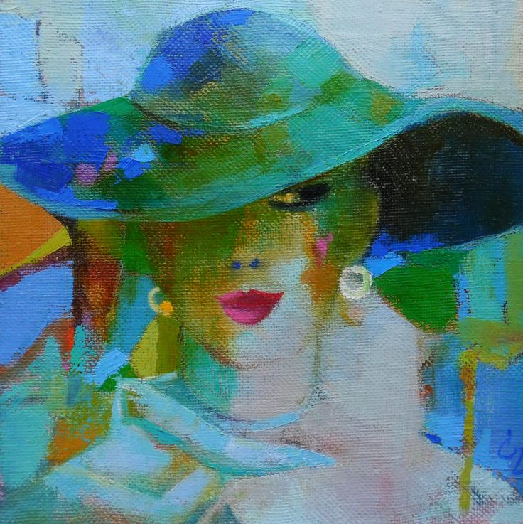 FINEARTSEEN - View blue hat original art by Cozmolici Victoria. A beautiful original painting to brighten up your home or interior decor. Freshen up your walls for Spring and view the beautiful authentic collection of artwork available on FineArtSeen - The curated online destination to discover and buy original art from the world's most talented artists. Enjoy Free Delivery with every order. >