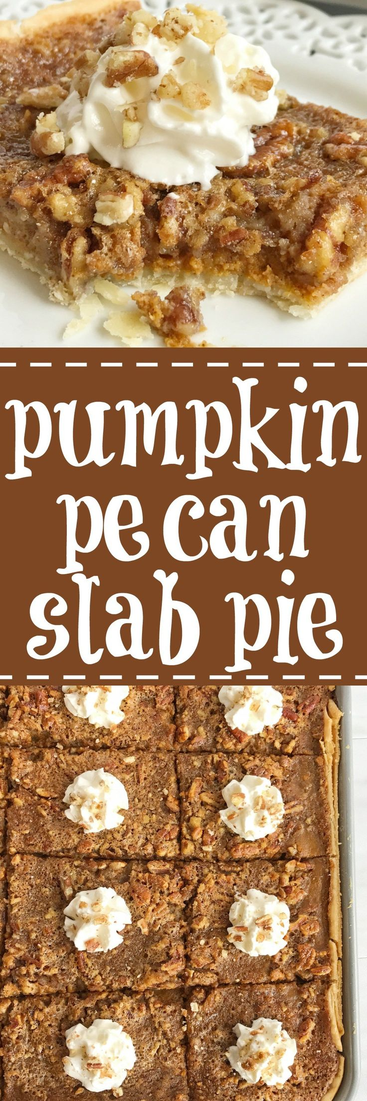 Pumpkin pecan slab pie combines the best desserts of Fall. An easy pie crust topped with a creamy pumpkin pie and finished off with pecan pie. It also makes enough for a crowd so it's perfect for all those Holiday gatherings, and it's pretty easy recipe to make too | togetherasfamily.com
