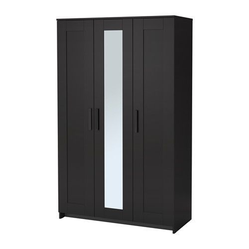 IKEA - BRIMNES, Wardrobe with 3 doors, black, , Of course your home should be a safe place for the entire family. That's why hardware is included so that you can attach the chest of drawers to the wall.The mirror door can be placed on the left side, right side or in the middle.A mirrored door saves space, no need to take up room on the wall or floor with a separate mirror.Adjustable shelves make it easy to customize the space according to your needs.If you want to organize inside, you can…