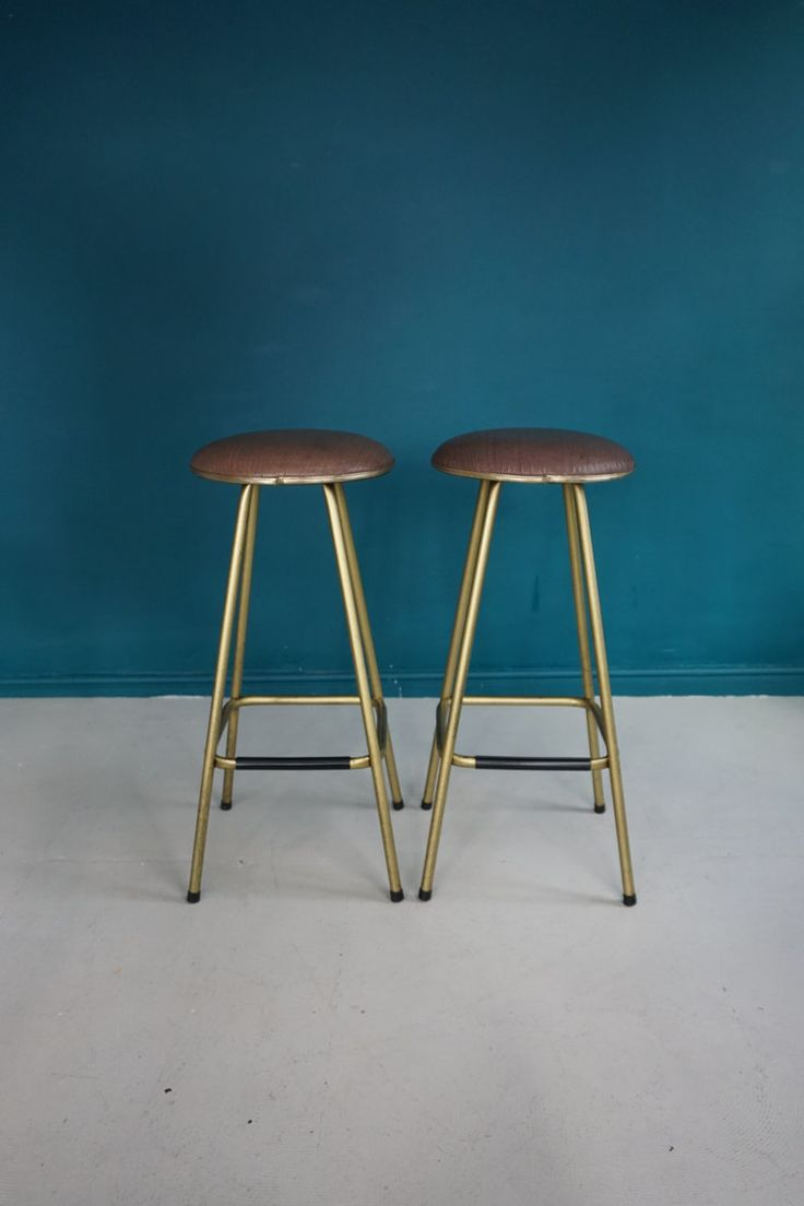 x2 Mid Century Gold Bar / Breakfast stools  Good condition - some wear to the gold paint on the legs as expected over time - please see images.   Measures  Height - 73cm  Diameter - 37cm