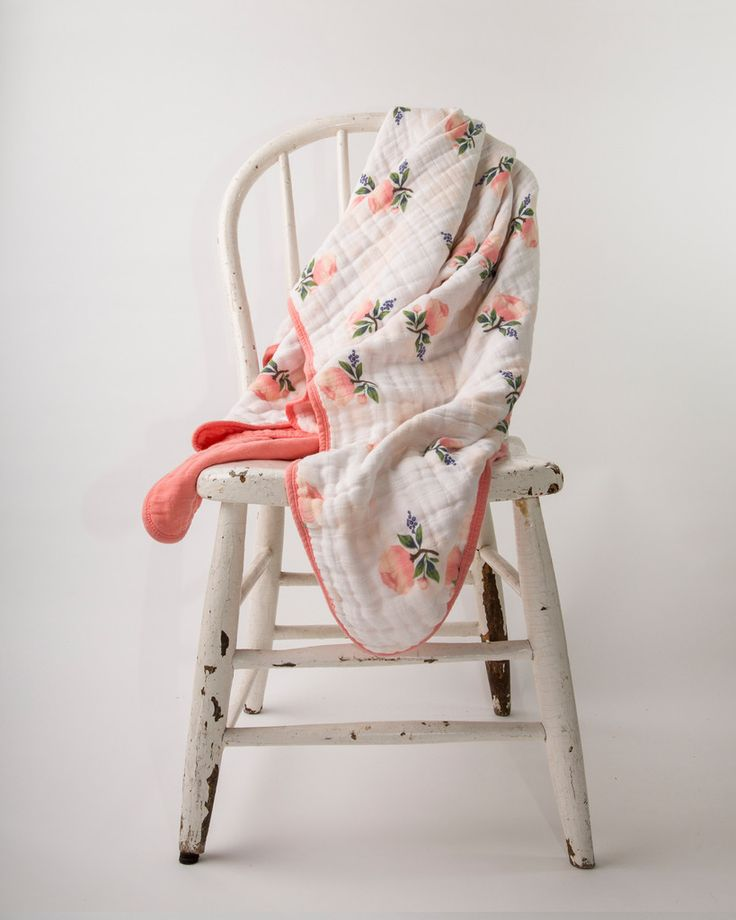 Rose Flower Toddler Blanket in Coral - we love this watercolor rose print and soft muslin material!