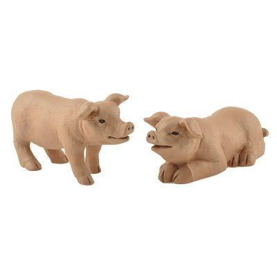 """Our cute garden pig statues will steal your heart they're so adorable you'll want to give them a hog hug! These Design Toscano-exclusive pig sculptures """"go hog wild"""" in quality designer resin, fully hand-painted with superior detail from adorable pig ears to curly tails! Add a drove of swine for extra impact!"""