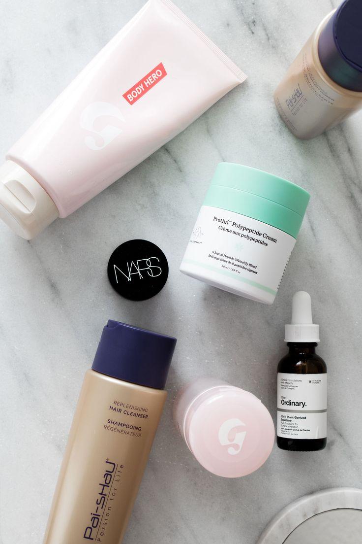Drunk Elephant Protini, Glossier solution, NARS Soft Matte Concealer, The Ordinary Squalane oil, Pai Shau shampoo, Glossier Body Hero