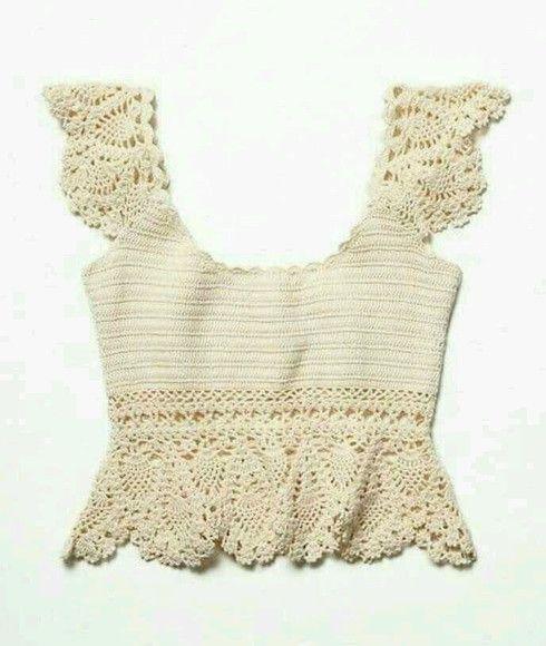 Blusa de Croche Fio 100 % algodão Excelente caimento Cor 8176- off white Para outras cores, favor consultar tabela de cores Frete fixo: R$ 20,00