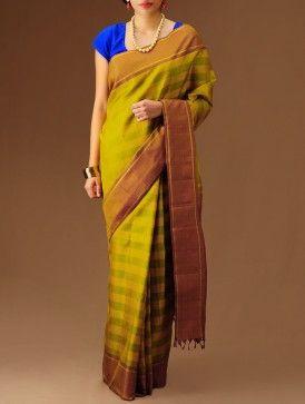Yellow-Green Kanchipuram Silk Saree